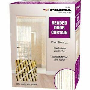 Prima Beaded Door Curtain Wooden Beaded Fits Most Standard Frames 90 X 200 Cm NE