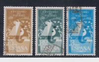 ESPAÑA (1955) SERIE COMPLETA USADA - EDIFIL 1180/82 CENTENARIO TELEGRAFO LOTE 4