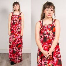 90'S VINTAGE RED & PINK FLORAL PRINT PATTERN WOMENS STRAPPY MAXI DRESS 12 14