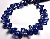 NATURAL DARK KYANITE FACETED PEAR SHAPE BEADS Briolettes 6- 12 MM 8 INCH