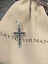 David Yurman Silver Black Diamond .48 ct Cross Pendant