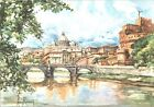 CARTOLINA - ROMA - CASTEL S. ANGELO CON S. PIETRO - ILL. ALDO RAIMONDI - 1950