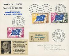 "CE14 Registered FDC Council of Europe ""DE GAULLE, Franco-German Friendship"" 1962"