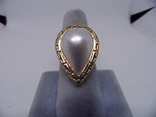 14k Yellow Gold Pear Shaped Mabe Pearl  Cocktail Ring size 7