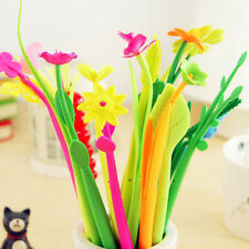 6pcs Flower Plant Gel Pens School Office Home Table Decorations Writing Pen Gift