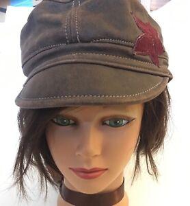 Rare Guffey Sundance Sheepskin Leather Newsboy VTG 60s 70s Hat Cap Hippie Women