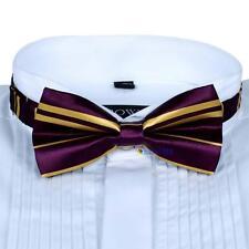 Men Satin Bow Tie Dickie Pre-Tied Wedding Tuxedo Necktie Purple Yellow Line AD