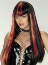 Long Black and Orange Hot Streak Vampire Devil Woman Costume Wig