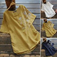 ZANZEA UK Womens Summer Short Sleeve Tops Ladies Casual Embroidery Shirts Blouse