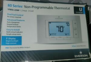 EMERSON 1F85U-22NP 80 Series Thermostats, 2 Stages, 20 to 30VAC, Auto, Gray