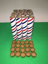 "20 New 6""x1""x1/8"" Fireworks Glossy Red,White & Blue PYRO Cardboard Tubes W/Plugs"