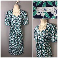 Variations Green Floral Retro Dress UK 20 EUR 48 US 16