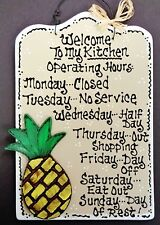 PINEAPPLE Kitchen Operating Hours SIGN Wall Art Plaque Tropical Hawaiian Decor