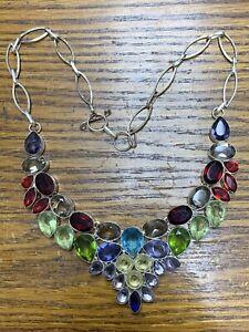 "Multi Garnet Peridot Amethyst 925 Sterling Silver Necklace 18"" 83 Grams"