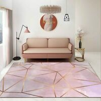 Modern Nordic Large Living Room Carpet 3d Printing Gray Pink Gold Line Geometry