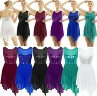 Women Girls Lyrical Dance Dress Sequined Ballet Leotard Skirt Dancewear Costumes