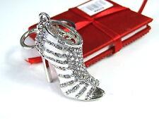 Silver Heel Sandals Keyring Dangling Rhinestone Diamante Handbag Buckle Charm