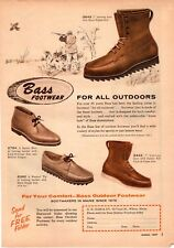 1957 Bass outdoor Boot Shoe Footwear Leather Hunting Vintage Print Ad