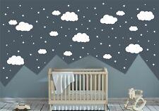 105 Wandtattoo Wandaufkleber Kinderzimmer Baby Wolken Sterne Weiß Hochglanz