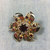 Vintage Brooch Gold Tone Metal Red White Rhinestones Faux Ruby Evening Cocktail