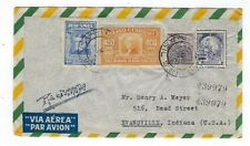 1949 Sao Paulo Brazil Registered Airmail to Evansville Indiana Four Stamps