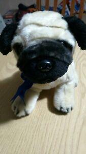 "FAO Schwarz - Toys R Us - PUG Puppy Dog 9"" Plush Stuffed Toy Blue Ribbon Prize"