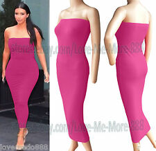 Womens Tube Strapless Party Club Tight fit slim Bodycon Long Maxi Dress Pink 2XL