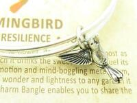 Wind and Fire Humming Bird 3D Charm Silver Wire Bangle Stackable Bracelet Gift
