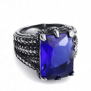 Men's Dragon Claw Set Sapphire Blue CZ Stone 316L Stainless Steel Biker Ring