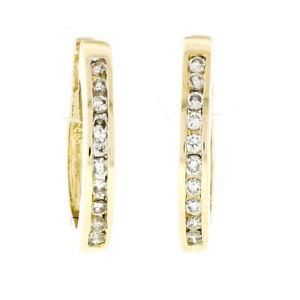 Classic 14K Yellow Gold 0.40ctw Channel Round Diamond Hoop Huggie Cuff Earrings