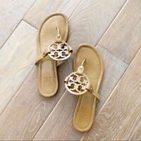Tory Burch Miller Sandals Tan Brown Flip Flops Women's Size 8