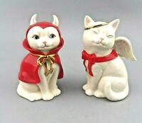 LENOX Cat Angel and Devil Salt & Pepper Shakers Set #820566 Halloween EUC