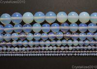 "Natural White Opalite Gemstone Round Beads 2mm 3mm 4mm 6mm 8mm 10mm 12mm 15.5"""