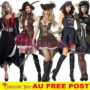 Ladies Captain Pirate Wench Caribbean Swashbuckler Halloween Costume Fancy Dress