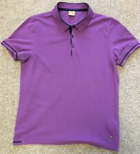HUGO BOSS OANGE LABEL PURPLE RETRO STYLE NAVY TIPPED POLO SHIRT L LARGE COST £80