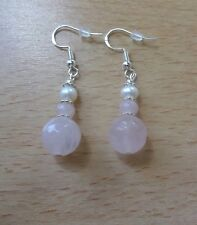 Lovely  ROSE QUARTZ 'A' /FRESHWATER pear drop  EAR RINGS St Silver Gift wrapped