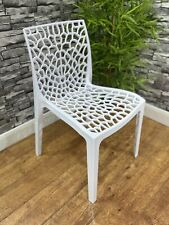 More details for contract quality heavy duty plastic white outdoor bistro cafe side chair