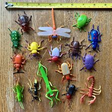 VTG Animals Toy Plastic Rubber Mini Figures Insects Bugs Realistic Lot Of 16