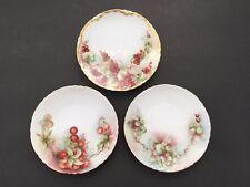3 Hand Painted Bavarian Porcelain Dessert Dish Plates Fruit Scene Artist Signed
