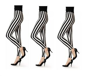 LADIES NEW BLACK AND WHITE STRIPPED LEGGINGS