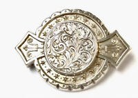 Antique Victorian Silver Engraved Floral Brooch GIFT BOXED