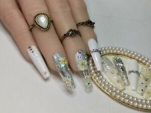 White Crystal Flower Hand Painted custom Nails | Press On | Fake | False
