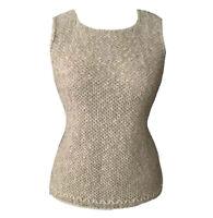 CARRAIG DONN Made in Ireland Cotton Linen Knit Top Vest Natural Oatmeal Beige 10