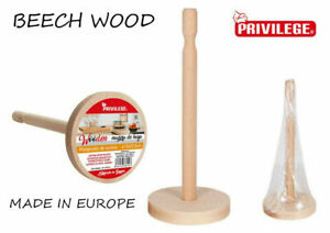 Beech Wood Kitchen Towel paper Roll Holder Stand Rack 32CM TALL