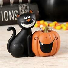 Bb Halloween Decor - Halloween Decor - Black Cat and Pumpkin Figurine