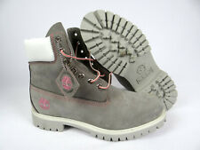 Mens Timberland Boots Light Gray Pink Trim Waterproof Fashion RARE RETRO Size 9