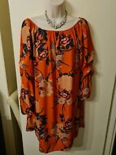 Size 16-18 Orange/Navy Blue/Peach Flowery Summer Tunic/Dress