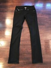 True Religion Disco Billy Women's Straight Leg Black Jeans Crystals 27 x 33
