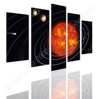 Solar Planetary System by Split 5 Panels | Ready to hang canvas | 5 Panels Wall