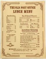 Vintage Lunch Menu THE OLD POST OFFICE Restaurant Ephraim Wisconsin ?